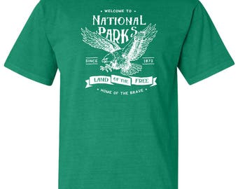 Land of the Free National Parks Eagle Adventure Comfort Colors T-Shirt