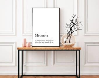 Metanoia Definition, Printable Quote, Printable Wall Art