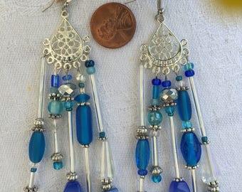 "Long Silver and Blue Chandelier Earrings 4"" length"