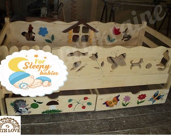 Wooden Toddler bed, play house bed frame, children bed, home bed handmade, wood house floor bed teepee bed, wooden bed, wood house CRIB SIZE