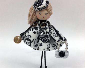 Brooch doll Black flower Jewelry