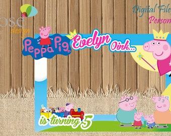 Peppa Pig Photo Booth / Peppa Birthday / Birthday Backdrops / Birthday Photo Booths / Peppa Pig / Peppa Birthday / Peppa Pig Selfie Frame