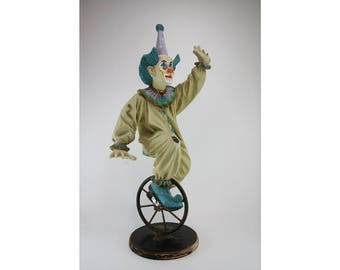 Vintage 1950 Circus Clown On Unicycle 46 Cm Tall