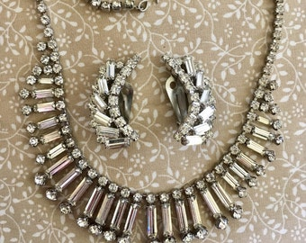 Vintage 1950s Rhinestone Necklace & Clip Earring Set