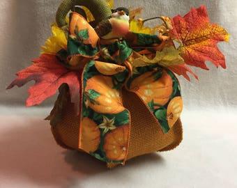 Fall Floral on Stuffed Pumpkin with Bird (#025.2)