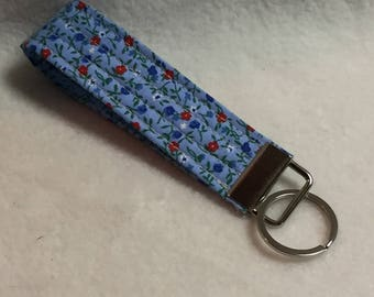 Key Fob - Red White Blue Flowers (#001.25)