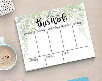 Printable Greenery Weekly Planner - Instant Download, Flowers, Greenery, Calendar, To Do List, Desk, Office Accessories, Agenda
