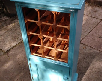 Distressed Shabby French Chic Wine Cabinet In Belgrave Blue