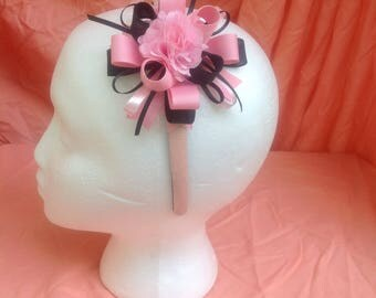 pink glitter headband with pink/black bow