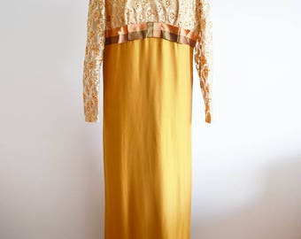 1960s Gold Evening Dress with Lace Top, Approx Size 14