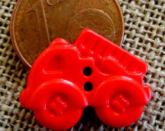 Set of 6 buttons for children's clothing red truck 16 mm