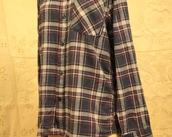 THE HUNDREDS Blue/Red Check Flannel Shirt - Size M