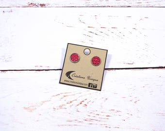 Small earrings made with leather and inox/ red stud earrings/ red leather