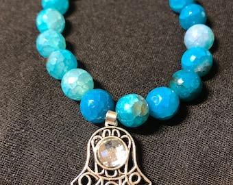 Turquoise Agate bracelet with Hamsa