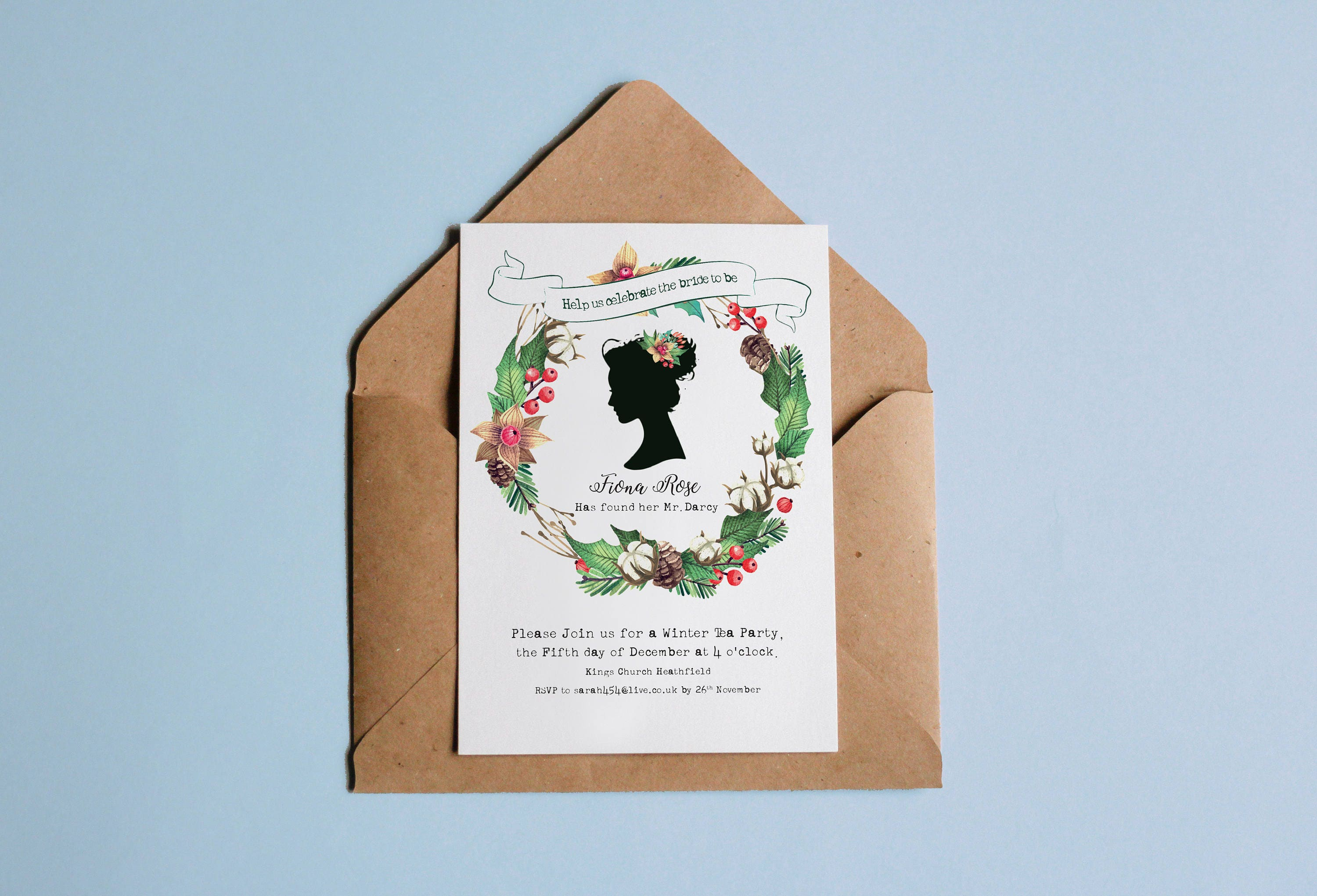 Personalised christmas theme bridal shower winter birthday personalised christmas theme bridal shower winter birthday invitation christmas jane austen filmwisefo Image collections