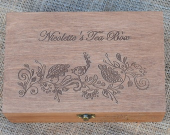 Customized Engraved box, Personalized box, Personalized Tea box, Wooden  Laser Engraved box,  Customized Gift, Tea Lovers, Housewarming Gift