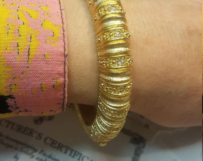 Haute Gold Bangle Camrose and Kross Bracelet Jacqueline Bouvier Kennedy JBK