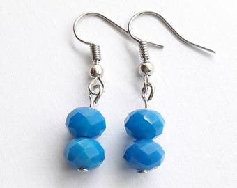 Czech Beads Blue Earrings Dangle Silver Tone Earrings, Women earrings, Blue Earrings