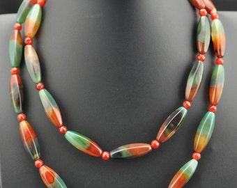 Fancy Agate Faceted Carnelian long .925 silver Necklace