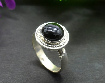 Natural Black Onyx Round Gemstone Ring 925 Sterling Silver R653