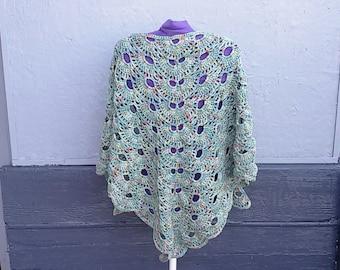 Crochet pale green triangle shawl Boho and Coachella style