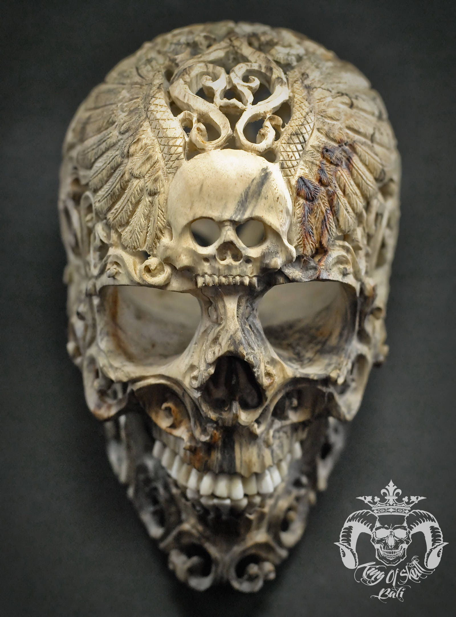 Rare large hand carved sculpture human skull filigree tribal