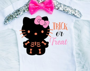 Baby Girl's Halloween Cat Onesie - Hello Kitty Shirt - Hello Kitty Onesie - Hello Kitty Halloween Shirt - Toddler Cat Costume