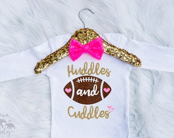 Football Onesie - Sundays Are For Football Shirt - Baby Girl football outfit  - Huddles And Cuddles Onesie - Fall Is For Football Shirt