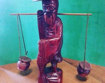 Vintage Asian Hand-Carved Wooden Fisherman / Water Carrier