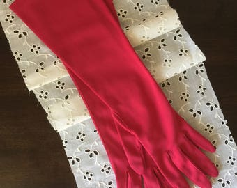 Woman's Vintage Elbow Length Hot Pink Gloves