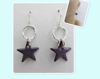 Beautiful Iris Purple Star Enamel Sterling Silver Hammered Circle Earrings