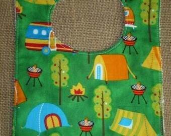 Handmade Toddler Food Bib - Camping