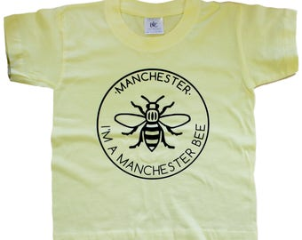 I'M A MANCHESTER BEE Lemon Kids T-Shirt - Produced in the UK Vinyl Print - Manchester Bee Manc and Proud Yellow Northern Hacienda Madchester