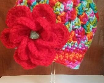 Multicolor with big red flower spring hat, openwork for girl, girl spring hat