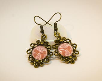 Romantic vintage-style earrings.  Antique Bronze colors.