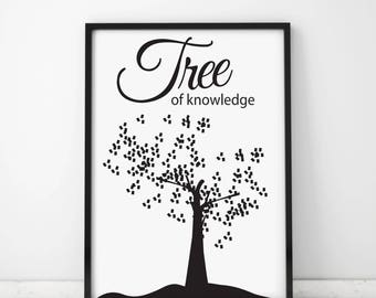Tree of knowledge, Housewarming Gift, Home decor, Gift idea, Digital Posters, Art Posters, Tree, Science, Tree cards, Knowledge cards