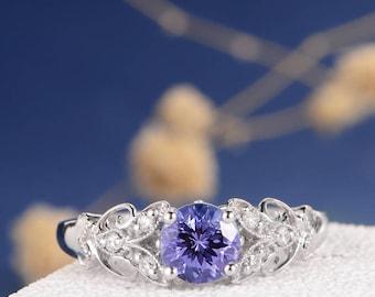 Antique Engagement Ring Tanzanite White Gold Wedding Ring Unique Milgrain Leaf Filigree Delicate Twig Flower Vine Anniversary Promise Bridal