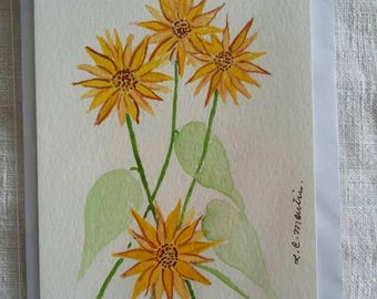 Watercolour postcard painting A6, Sunflowers, yellow sunflower medley, yellow flower picture painting