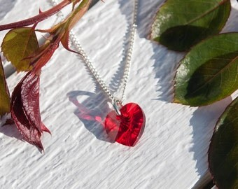 Red heart necklace, Swarovski® Crystal heart pendant, Sparkly red heart, Silver heart necklace, Bridesmaid gifts, Bridesmaid jewellery