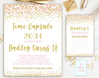 Confetti Time Capsule Sign, First Birthday Time Capsule, Pink and Gold Time Capsule + Matching Note Cards, Printable Digital File