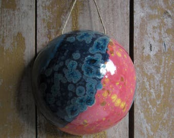 Planet T568Z.Ceramic Pottery Dome,Celestial Body,Outer Space Art,Galaxy,Astonomy Lovers Gift,Blue,Red,Abstract Wall Hanging,Sci-Fi Decor,Men
