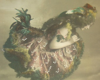 Vintage/Antique, Hand Tinted, Fantasy RPPC (Lady dressed as a bird #1)