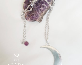 Necklace pendant crescent moon silver Amethyst  Boho Wicca  burning man Gothic  Witch  Magic  Esoteric Occult  goddess