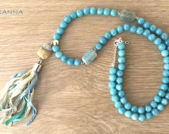 Necklace BLUESKY semi-precious /piedras / agate blue/tassel sari blue/Boho chic-casual-elegant