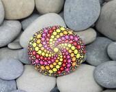 Mix Colour Painted Rock Mandala - Chakra Stone - Hand-Painted Meditation Mandala Rock - Home Decor - Boho - Rock Art - Painted Stone