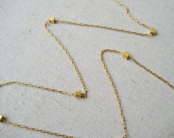 Vendome Cube Necklace, Vintage Necklace, Gold Tone, Square Chain Necklace, Long Layering Necklace, Minimalist, Geometric, Gift For Her