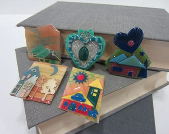 """5 """"House Pins by Lucinda""""/Lucinda Brooches"""