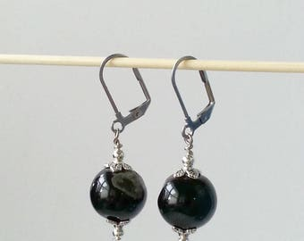 Black agate earrings, natural stone, leverback settings, simple and black, hypoallergenic, Tanzy Lane, Australian sellers, Australia