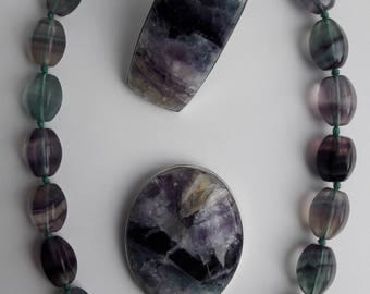 Fluorite jewellery set | Fluorite necklace, ring and brooch | Natural stone | Unique hand made jewellery set | Gift for her
