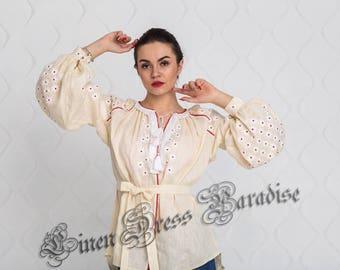 Vyshyvanka Woman Ukrainian Embroidery Ivory Linen Boho Blouse Bohemian Blouse Custom Boho Clothing Vishivanka Ukrainian Boho Chic Nationale